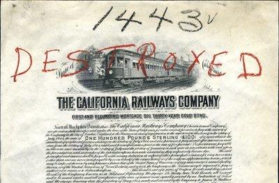 919: California Railways Co. Proof Bond
