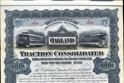 921: California. U.S. Oakland Traction Consolidated.