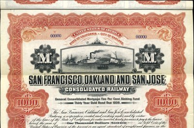 927: CA. San Francisco, Oakland and San Jose Cons Rwy