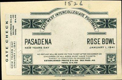 1262: California. U.S. 1941 Rose Bowl Proof Ticket
