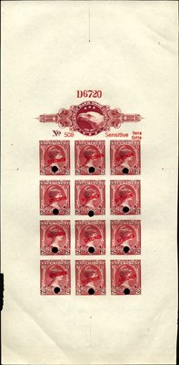 1692: U.S. American BNC Color Sample Sheet With Stamps.