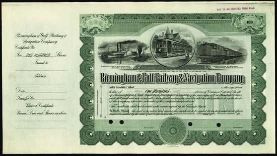 6070: Alabama. Birmingham & Gulf Railway & Navigation C
