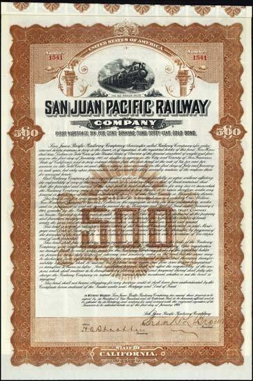 6080: California. San Juan Pacific Railway Co. Bond Pai