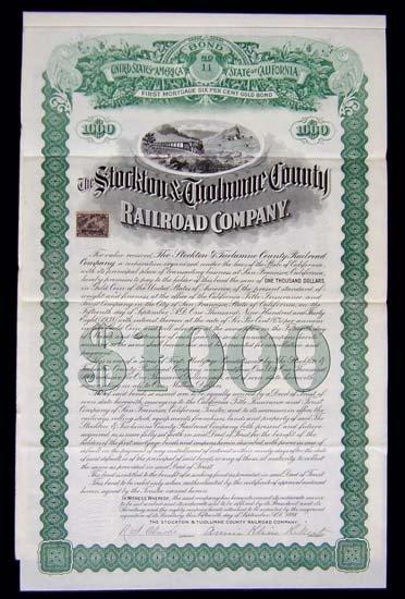6085: California. The Stockton & Tuolumne Railroad Comp