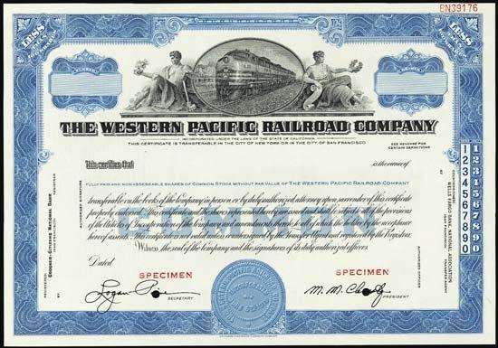 6086: CA. W. Pacific Railroad Stock and Bond Assortment