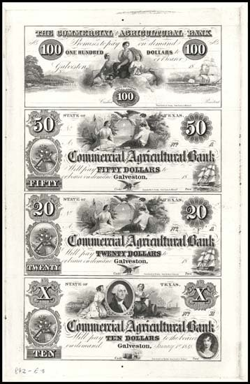 6578: TX. Commercial & Agricultural Bank Uncut Prf Shee
