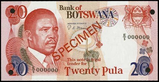 6821: Africa. Spec. Banknotes - Botswana, Swaz. & Ugand
