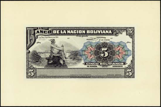 6840: Bolivia. Interesting Bolivia Proof and Issued Ban