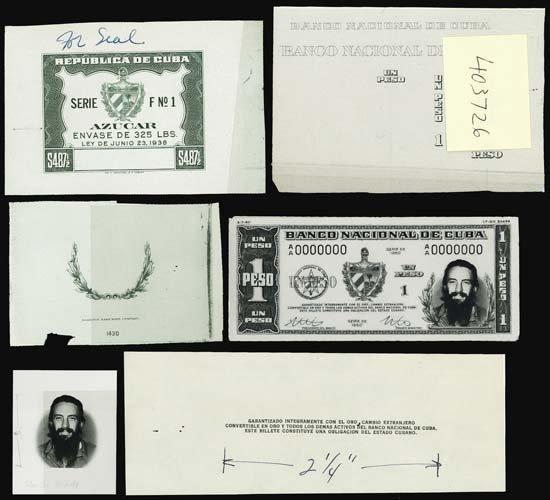 7189: Banco Nac. De Cuba Essay Banknote Prod. Material.