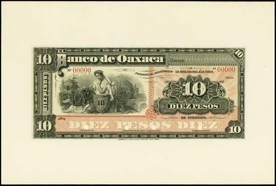 7518: Mexico. El Banco De Oaxaca Proof Banknote.