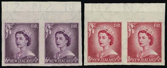 9001: New Zealand. 1953-58 Queen Elizabeth II Imperf PP