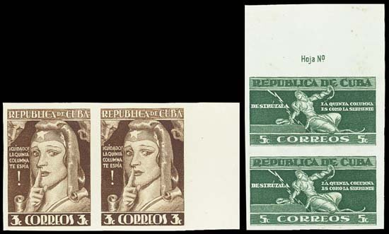 9002: Cuba. 1943 5th Column Issue TC Prf Pairs