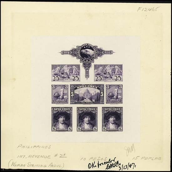 "9005: U.S. ABNC ""Specimen"" Stamp Sheetlet of 8 Prfs"