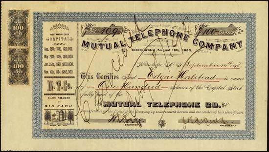 9018: Hawaii. Mutual Telephone Co. w/ Hawaii Rev Stamps