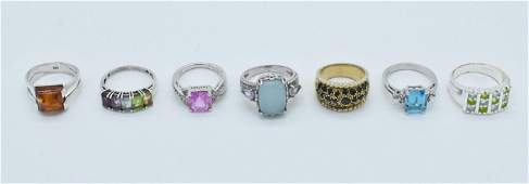Group of Sterling Silver Fashion Rings Marked 925