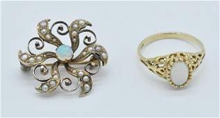Vintage 10K Gold Opal Ring and Opal & Seed Pearl Brooch