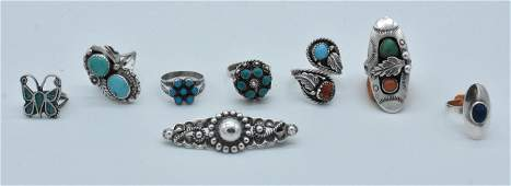 7 Navajo  Sterling and Turquoise Rings Sterling Brooch