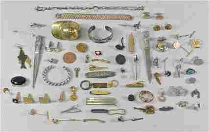 Vintage Jewelry Group - Tie Tacks, Knife, Cuff Links