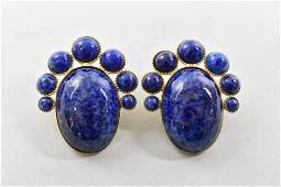 Lapis Lazuli Gold Filled Clip Earrings