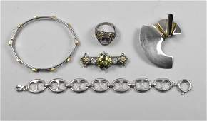 Sterling Group with Bracelets, Pins, and Ring Gucci