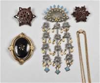Victorian Jewelry, Garnet Pins, Ladies Opal Slide Chain