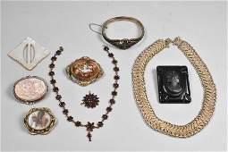 Victorian Morning Jewelry Garnet Pearl Cameo Silver