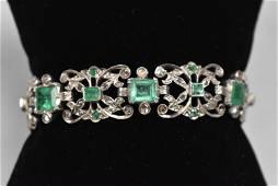 Vintage Emerald and Diamond Bracelet