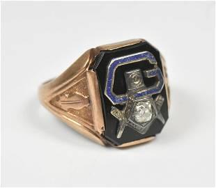 10K Masonic Men's Ring European Diamond