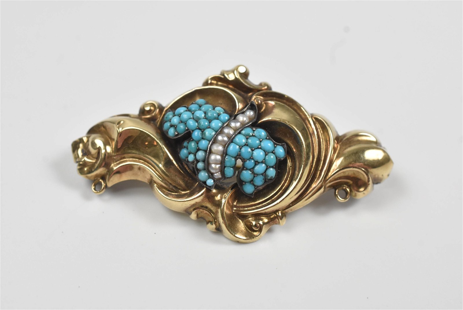 Victorian Turquoise & Pearl Pin 14K