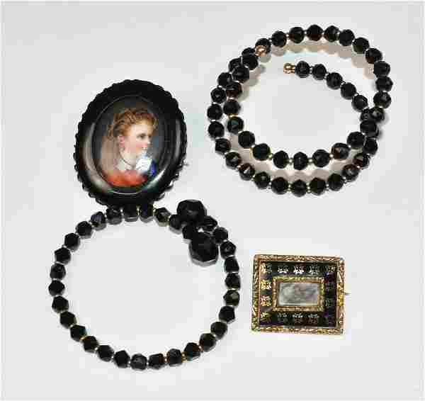 Victorian Mourning Bracelets and Enameled Pins