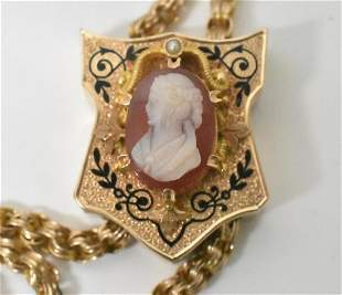 14K Victorian Slide Chain with Cameo