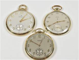 3 Gold 12 Size Pocket watches