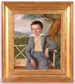 """Franz Eybl (1806-1880) """"Small Portrait of a Boy"""", oil"""