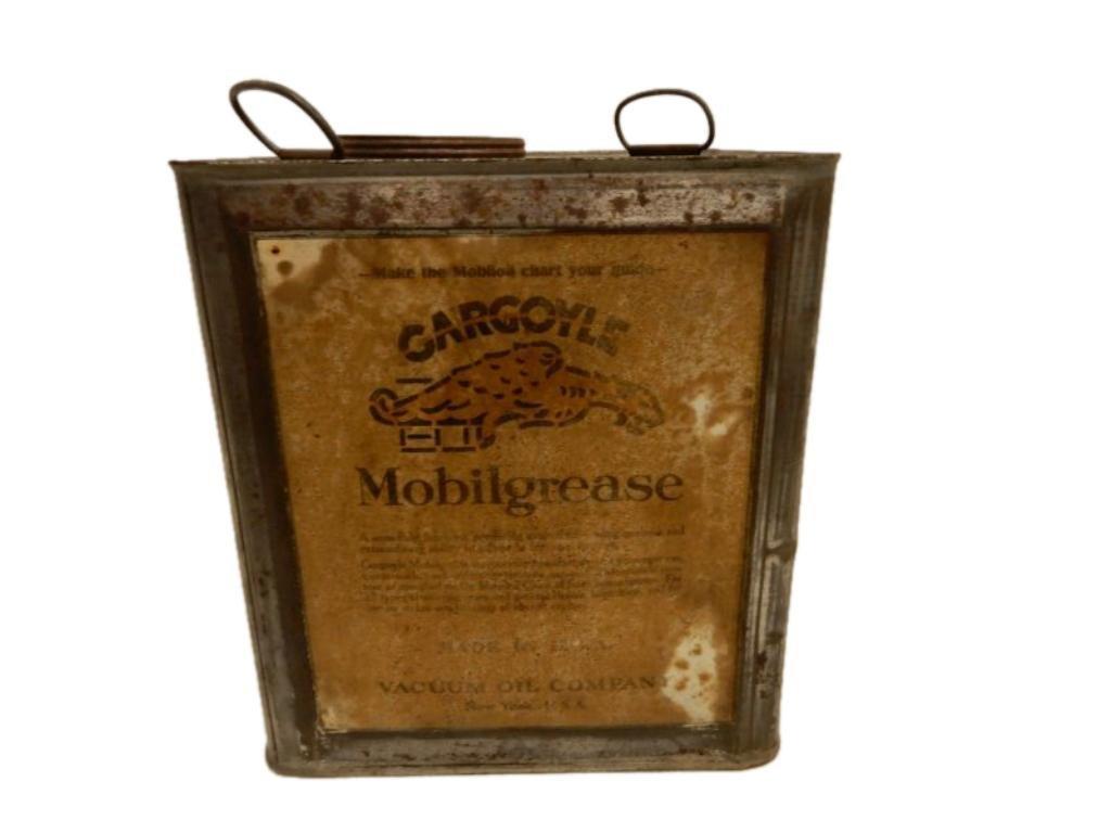 RARE EARLY MOBILGREASE GARGOYLE GREASE CAN
