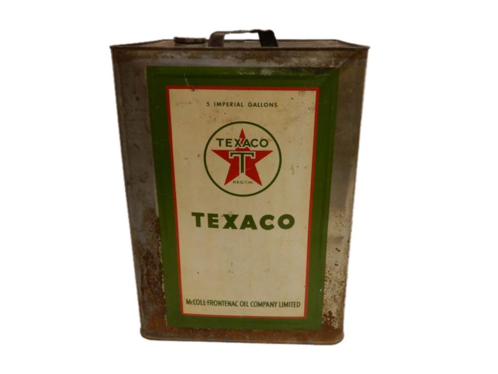 """TEXACO RED STAR GREEN """"T"""" 5 IMPERIAL GALLONS CAN"""