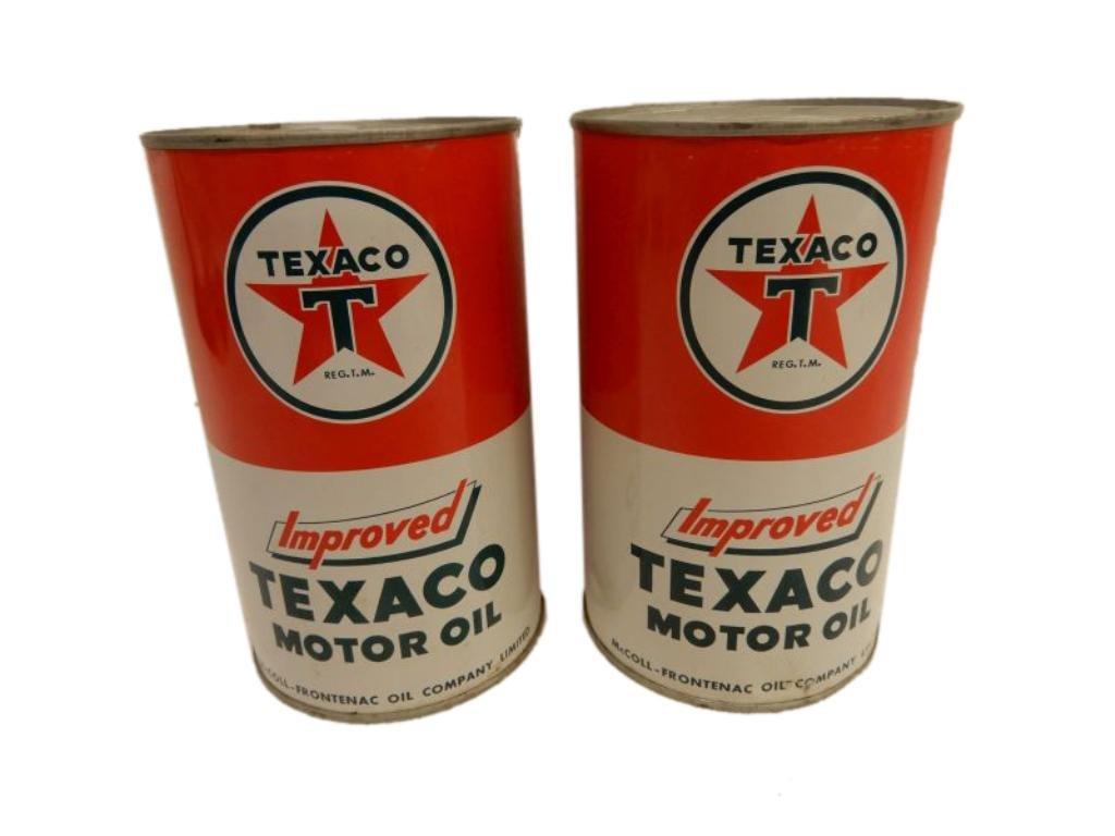 2 TEXACO IMPROVED MOTOR OIL IMP. QUART CANS