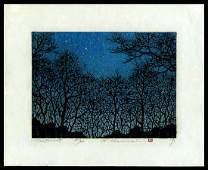 Hajime Namiki - Japanese Woodblock Print of Trees