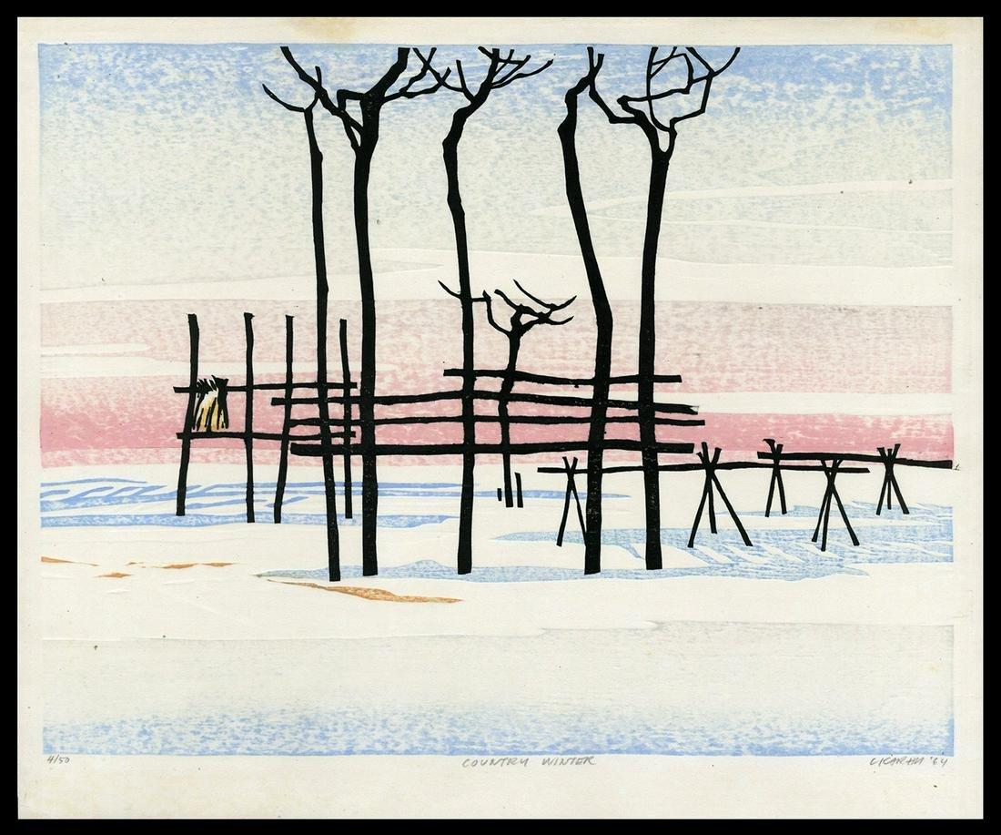 Karhu Woodblock Print - Kurasaki Fall, 1964
