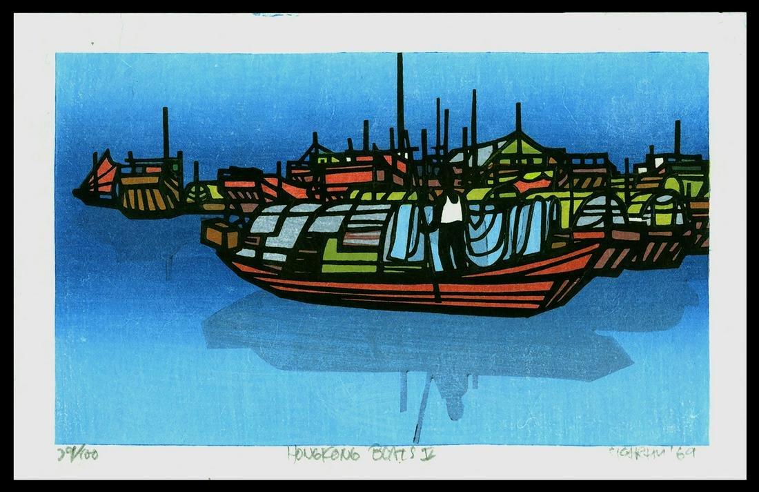 Karhu Woodblock - Hong Kong Boats V, 29/100