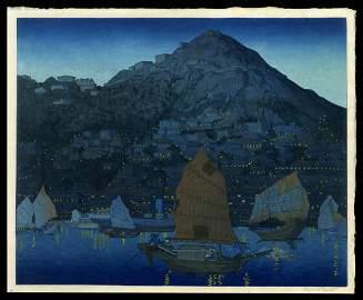 Elizabeth Keith Woodblock - Hong Kong Harbor, Night