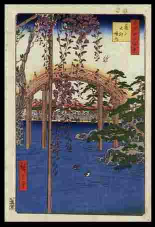 Ando Hiroshige Woodblock - Inside Kameido Tenjin Shrine