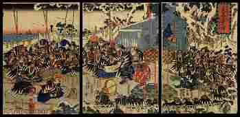 Kuniyoshi Woodblock 47 Ronin in Front of a Tomb