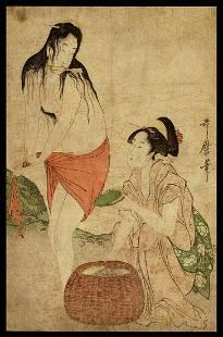 Kitagawa Utamaro Woodblock - Awabe Fishers