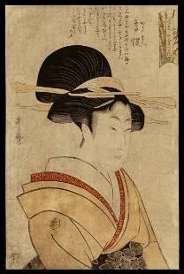 Kitagawa Utamaro Woodblock - Tea House Beauty