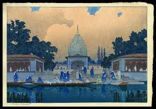 Charles W. Bartlett Woodblock -  Temple Kashmir