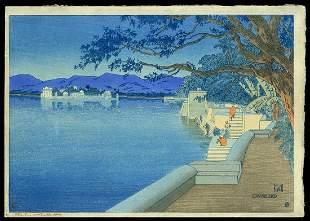 Charles W. Bartlett Woodblock - Udaipur 1916 II