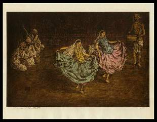 Charles W. Bartlett Etching - Indian Dancing Girls