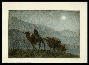 Charles Bartlett Etching - Moonlight on Hills, Peking