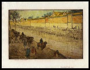 Charles Bartlett Etching - Imperial City Wall Peking