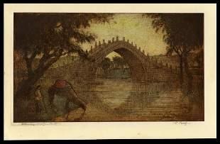 Charles W. Bartlett Etching - Bridge in Summer Palace